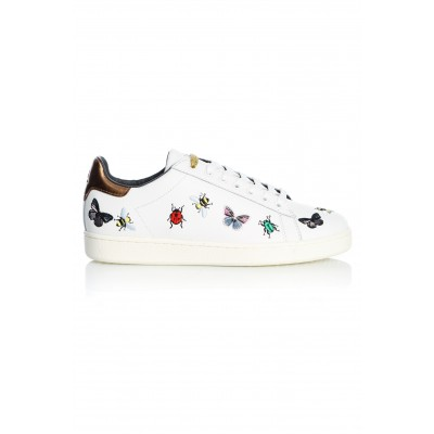 BUGS LEATHER WHITE EMBROIDERY
