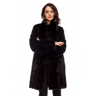 JACKET PI BLACK MINK -GREY BROWN-BLACK