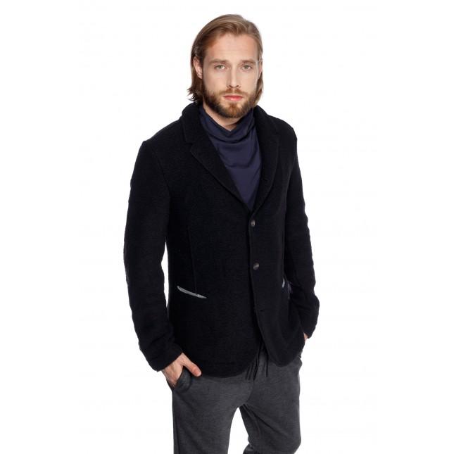 Sacou negru cambrat, model smart-casual, pentru barbati