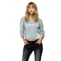 Bluza asimetrica, metalizata, de dama