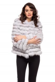 Haina din blana naturala de vulpe polara pentru femei