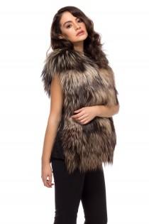 Vesta din blana de vulpe, maro, cu buzunare, pentru femei