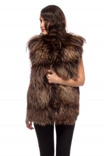 Vesta maro din blana naturala de vulpe pentru femei