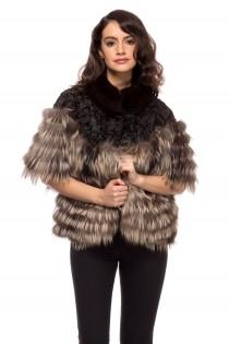 Haina maro din blana naturala de vulpe pentru femei