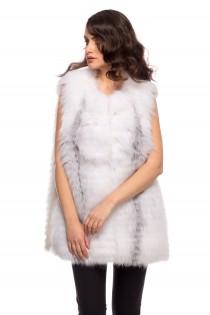 Vesta din blana naturala de vulpe polara pentru femei