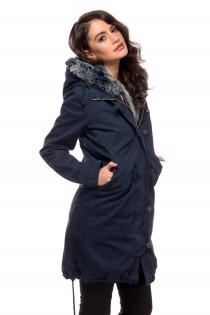Jacheta lunga bleu inchis cu gluga pentru femei