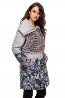 Jacheta cu guler din blana de vulpe pentru femei
