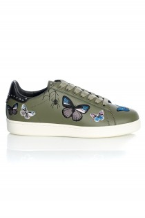 Sneakers pentru femei Butterfly Leather Military Embroidery