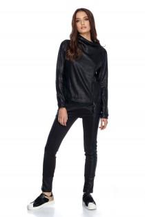 Jacheta neagra din piele ecologica, de dama
